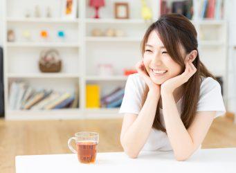 Asian girl with tea