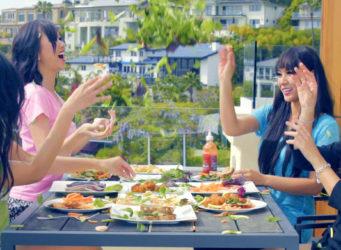 Asian girls eating